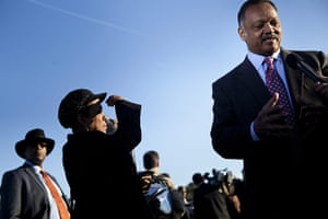 Martin Luther King: Rev. Jesse Jackson speaks to a reporter before a dedication ceremony