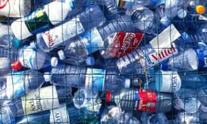 Discarded plastic water bottles.