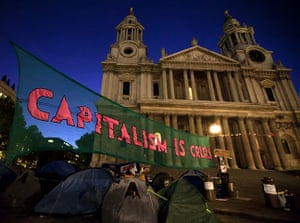 Occupy London: a protest banner outside St Paul's