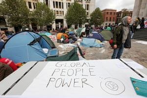 Occupy London protest: A banner amongst tents outside St Pauls Cathedral