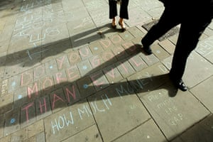 Occupy London protest: Graffiti on the pavement