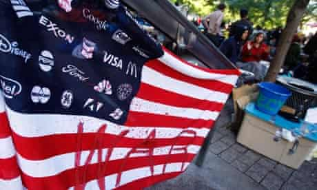 A flag made by Occupy Wall Street campaign demonstrators