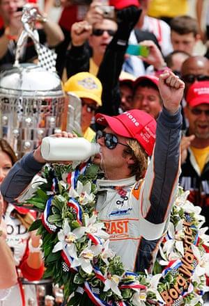 Dan Wheldon Retrospective: Dan Wheldon celebrates after winning the Indianapolis 500