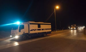 A convoy carrying Palestinian prisoners being exchanged for Gilad Shalit leaves the Ketziot prison