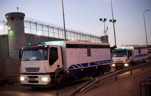 gilad shalit release: A convoy of Israeli prison service buses carrying Palestinian prisoners