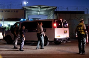 gilad shalit release: Part of the Israeli prisons convoy carrying Palestinians