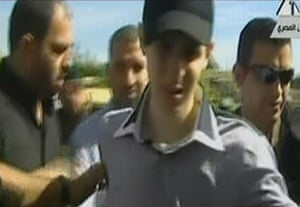 Shalit release: An image taken from Egyptian state TV showing Gilad Shalit