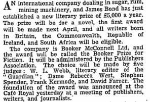 Booker prize founded in 1968