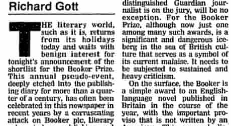 Richard Gott rails against the Booker prize in 1994