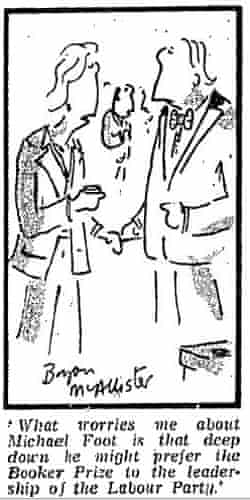 Political cartoon lampooning Michael Foot and the Booker Prize in 1984