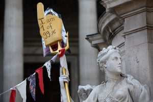 Occupy London: Occupy placards are placed in front of St Paul's Cathedral