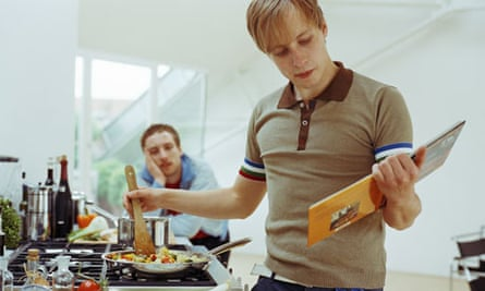 Two young men in a kitchen
