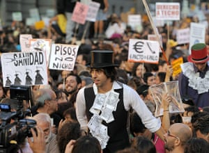 Occupy World Protests: Protesters demonstrate at the Puerta del Sol square in Madrid