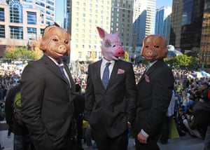 Occupy World Protests: Protesters wear pig masks and business suits, Occupy Vancover