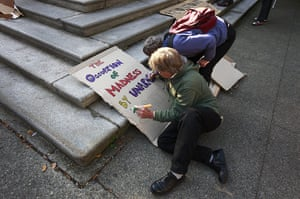 Occupy World Protests: Protesters colour signs during the Occupy Vancouver protest