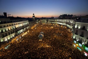 Occupy World Protests: People take a part in a demostration in Puerta del Sol square in Madrid