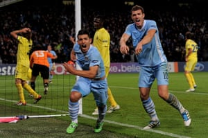 Tuesday Champions League: Sergio Aguero celebrates after scoring the winner against Villarreal
