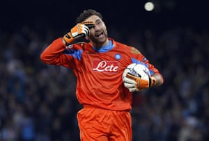Tuesday Champions League: Napoli goalkeeper De Sanctis reacts after saving a penalty against Bayern