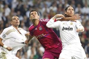 Tuesday Champions League: Real Madrid's Sergio Ramos & Pepe vie with Olympique Lyon's Dejan Lovren