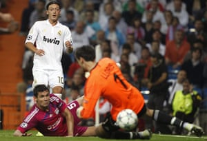 Tuesday Champions League: Real Madrid's Ozil shoots and the ball goes in off Olympique Lyon's Lloris