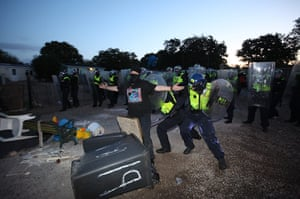 Dale farm eviction: An activist attempts to block police