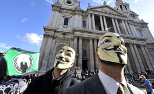 Occupy London protests: Masked protesters from Occupy the London Stock Exchange movement