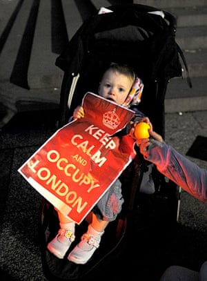 Occupy London protests: A young protester at the Occupy the London Stock Exchange demonstration