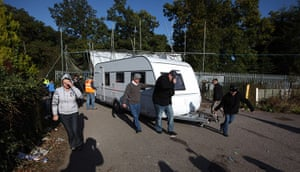Dale Farm camp: Activists move a caravan to a safer spot during evictions from Dale Farm