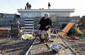 Dale Farm camp: Resident Mary McCarthy sits in a chair at the Dale Farm travellers site