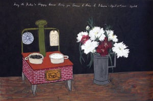 Exchanging Hats book: Red Stove and Flowers, a painting by Elizabeth Bishop