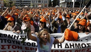 Greece strikes & protests: A woman shouts while taking part in an anti-austerity rally