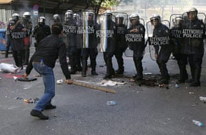 Greece strikes & protests: Strikers clash with riot police during a strike demonstration in Athens