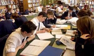 Grammar school pupils at work