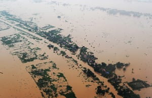 Cambodia floods: Aerial view of flooded areas at Phnom Penh, Cambodia