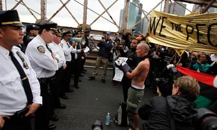 NYPD officers square on Brooklyn bridge