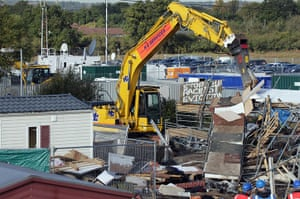 Dale Farm evictions: A barricade at the main entrance is dismantled