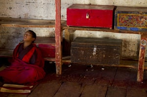 From the agencies: A novice monk sleeps In Thimphu Bhutan