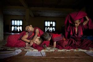 From the agencies: Novice monks sleep in Thimphu Bhutan