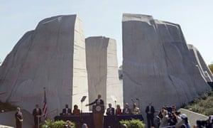 President Barack Obama speaks at the dedication of the Martin Luther King Jr memorial in Washington