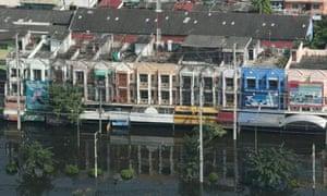 Flooded buildings in Rangsit