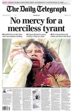 Gaddafi dead: Daily Telegraph, UK