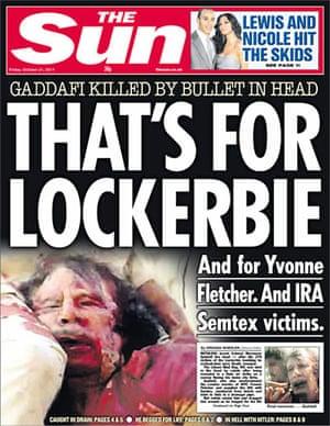 Gaddafi dead: The Sun, UK