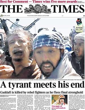 Gaddafi dead: The Times, UK