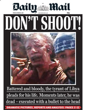 Gaddafi dead: Daily Mail, UK