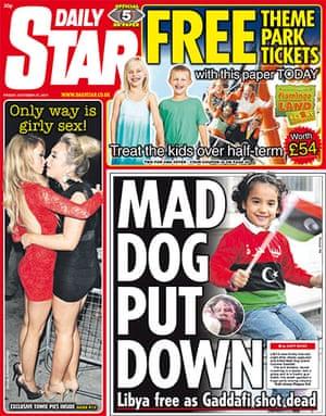 Gaddafi dead: Daily Star, UK
