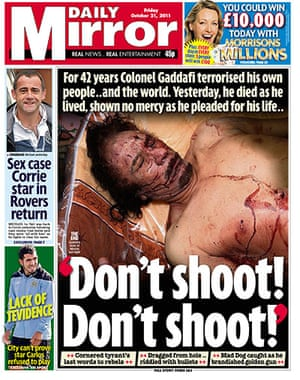 Gaddafi dead: Daily Mirror, UK