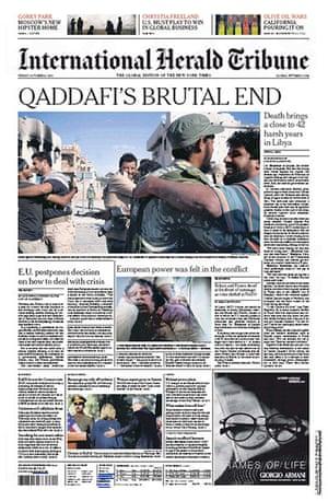 Gaddafi dead: International Herald Tribune