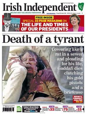 Gaddafi dead: Irish Independent