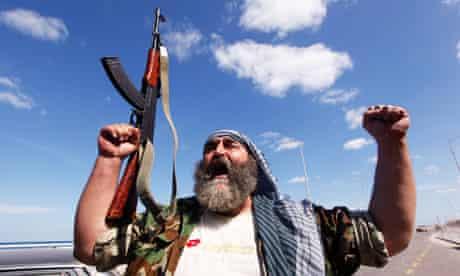 An anti-Gaddafi fighter in Sirte