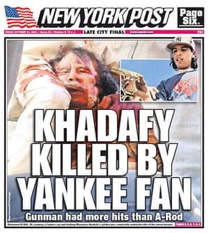 Gaddafi dead: New York Post, US